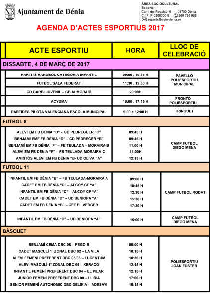 AGENDA ESPORTIVA 4 i 5 de Març premsa-1