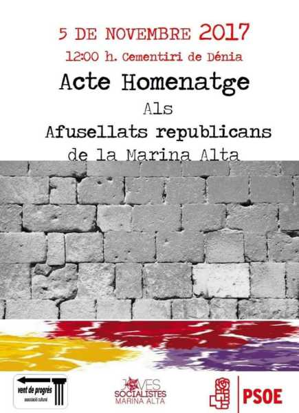 Cartel Homenaje fusilados republicanos La Marina Alta
